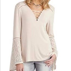democracy V Neck lace up top size Small NWOT